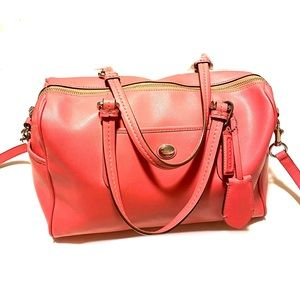 COACH Peyton Leather Nancy Satchel Crossbody Bag